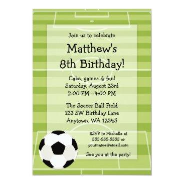 Soccer Ball Field Kids Birthday Party Invitation