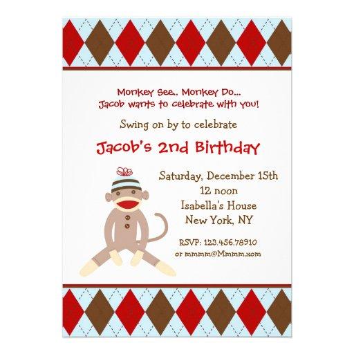 personalized sock monkey birthday party invitations custominvitations4u com