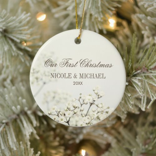 Soft Vintage Baby's Breath Our First Christmas Ceramic Ornament