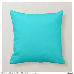 Cream Colored Sofa Pillows Reupholster Cushions Solid Turquoise Throw Pillow