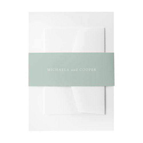 Solid Light Sage Green Personalized Wedding Invitation Belly Band