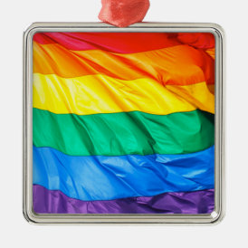 Solid Pride - Gay Pride Flag Closeup Metal Ornament