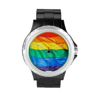 Solid Pride - Gay Pride Flag Closeup Wristwatch