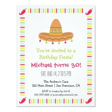 Sombrero Mexican Fiesta Adult Birthday Party Invitation