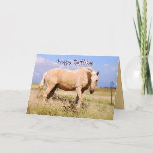 Son Happy Birthday Palomino Horse Card card