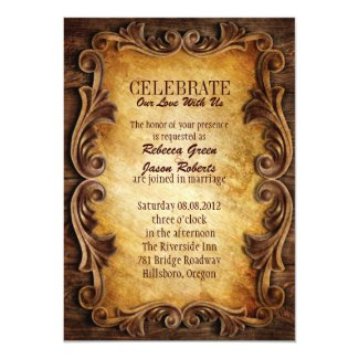 Sophisticated Elegant western vintage wedding 5x7 Paper Invitation Card