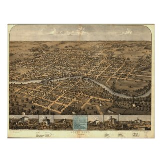 South Bend Indiana 1866 Antique Panoramic Map Print