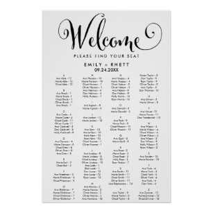Southern calligraphy alphabetical seating chart also wedding charts zazzle rh