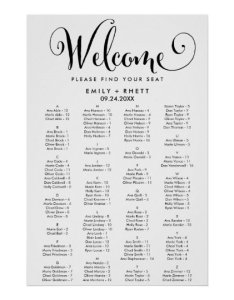 also southern calligraphy alphabetical seating chart zazzle rh