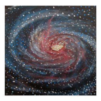 Space Art Poster - Galaxy Painting by Alizey Khan print