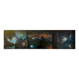 Space Art Poster - Nebula Triptych Painting print