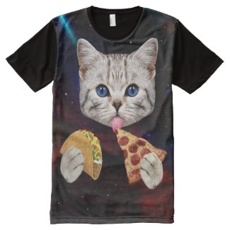 Space Cat with taco and pizza All-Over-Print T-Shirt
