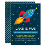 ❤️ Simple Rocket Ship Space  Birthday Invitation