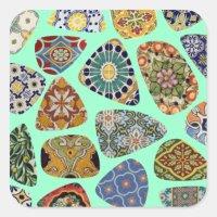 Spanish & Mexican Tile Mosaic Square Sticker | Zazzle