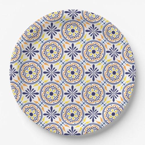 Spanish Navy Yellow Tile mediterranean wedding V2 Paper Plate