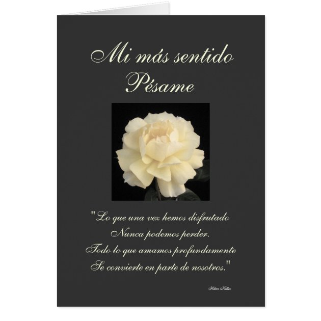 Spanish Pesame B&W Sympathy Card Zazzle Com