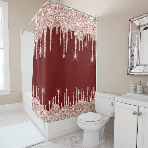spark drips glitter effect burgundy rose gold shower curtain zazzle com