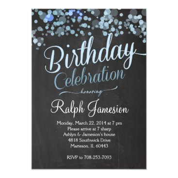 Sparkle Glitter  Blue Birthday Invitation