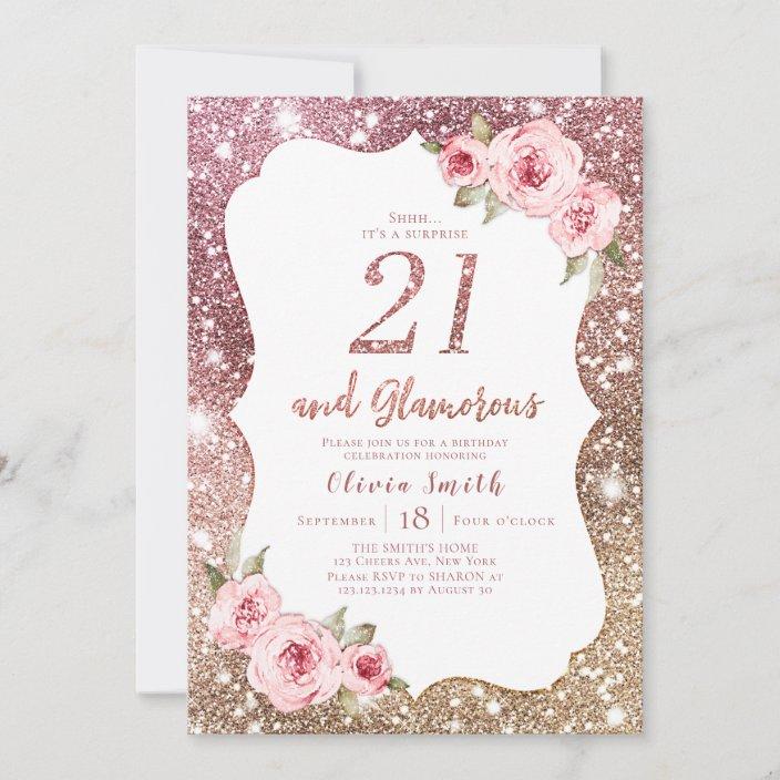 sparkle rose gold glitter and floral 21st birthday invitation zazzle com