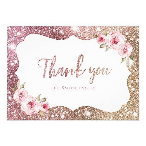 Sparkle rose gold glitter and floral thank you invitation