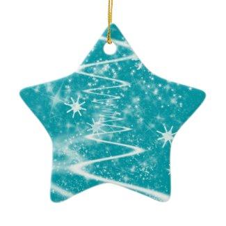 Sparkle Snow Star Blue Ornament