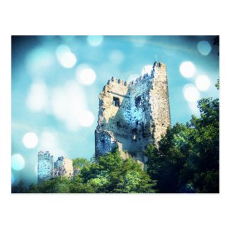 Sparkling Blue Fairytale Castle Ruin Post Card