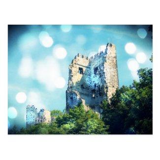 Sparkling Blue Fairytale Castle Ruin Post Card