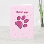 Purple Sparkles Paw Print Thank You Card