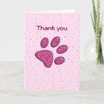 Purple Sparkles Paw Print Thank You Card