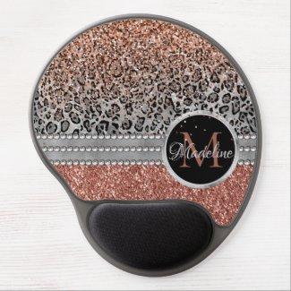 Sparkling Girly Rose Gold Glitter Leopard Monogram Gel Mouse Pad