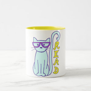 Spectacle Cat with Purple Glasses with Read sign Two-Tone Coffee Mug