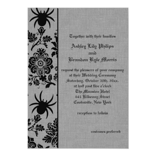 Spider Damask on Gray Linen Wedding Invitation