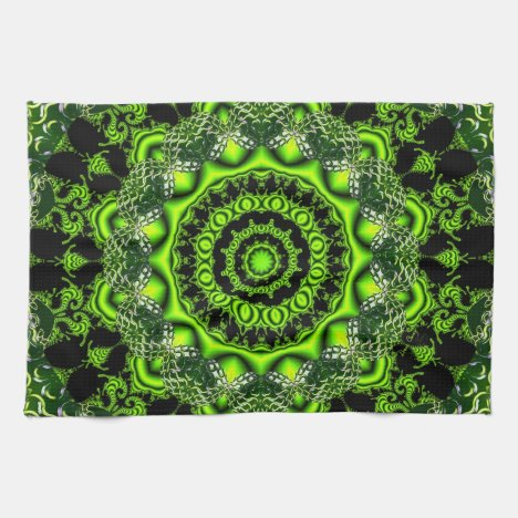 Spider Dance, Abstract Green Gray Web Hand Towel