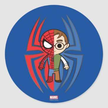 Spider-Man and Peter Parker Dual Identity Classic Round Sticker
