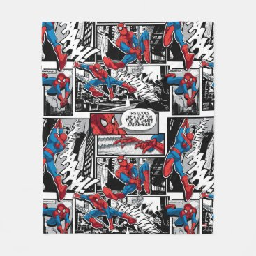 Spider-Man Comic Panel Pattern Fleece Blanket