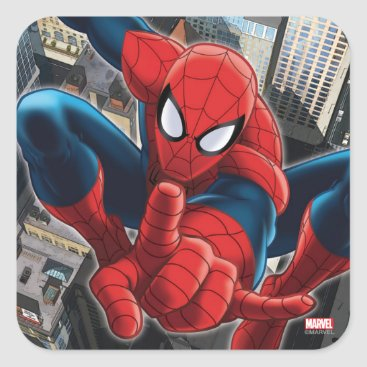 Spider-Man High Above the City Square Sticker