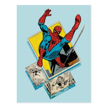 Spider-Man Swinging Out Of Comic Panels Postcard