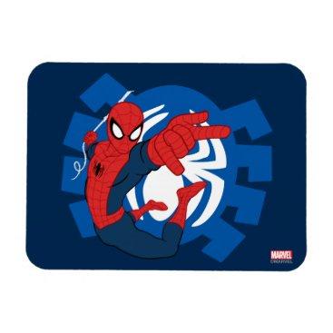 Spider-Man Swinging Over Blue Logo Magnet