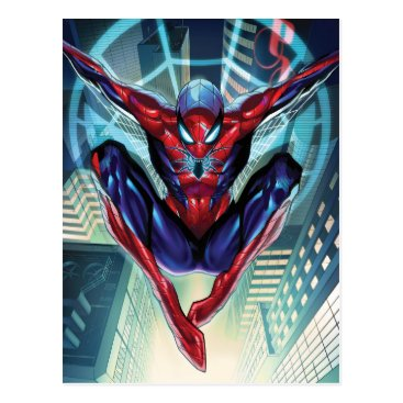 Spider-Man   Swinging Over City Glow Postcard