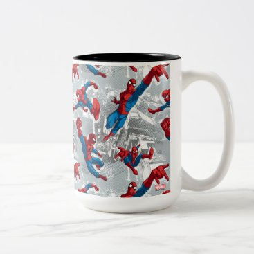 Spider-Man Swinging Over City Pattern Two-Tone Coffee Mug