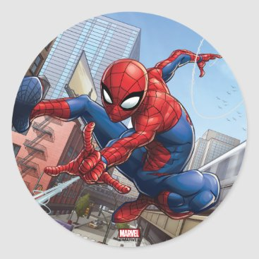 Spider-Man Web Slinging By Train Classic Round Sticker