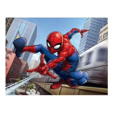 Spider-Man Web Slinging By Train Postcard