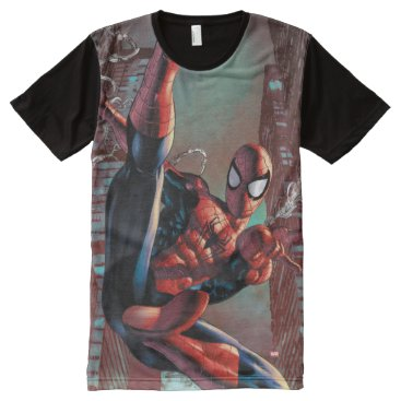 Spider-Man Web Slinging In City Marker Drawing All-Over-Print Shirt