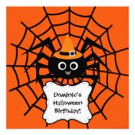 Spider Web Halloween Party Invitation