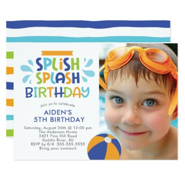 Splish Splash Pool Birthday Invitation