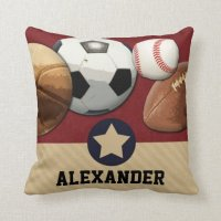 Sports All-Star Custom Name Pillow | Zazzle