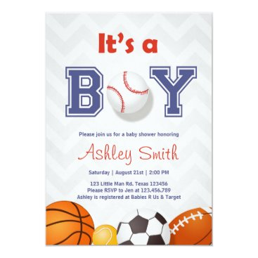 Sports Baby Shower invite Its a boy Blue red Grey