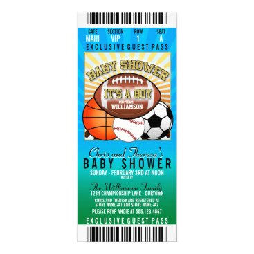 Sports Theme Party Baby Shower Card