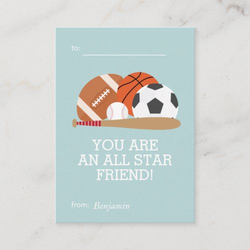 Sports-Themed Kids Classroom Valentines Note Card