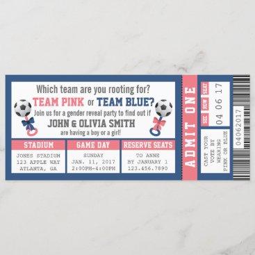 Sports Ticket Gender Reveal Invitation, Soccer Invitation